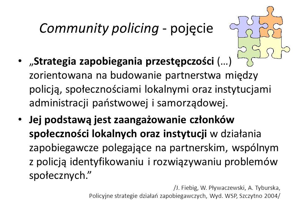 Community policing - pojęcie Strategia zapobiegania przestępczości (…) zorientowana na budowanie partnerstwa między policją, społecznościami lokalnymi oraz instytucjami administracji państwowej i samorządowej.