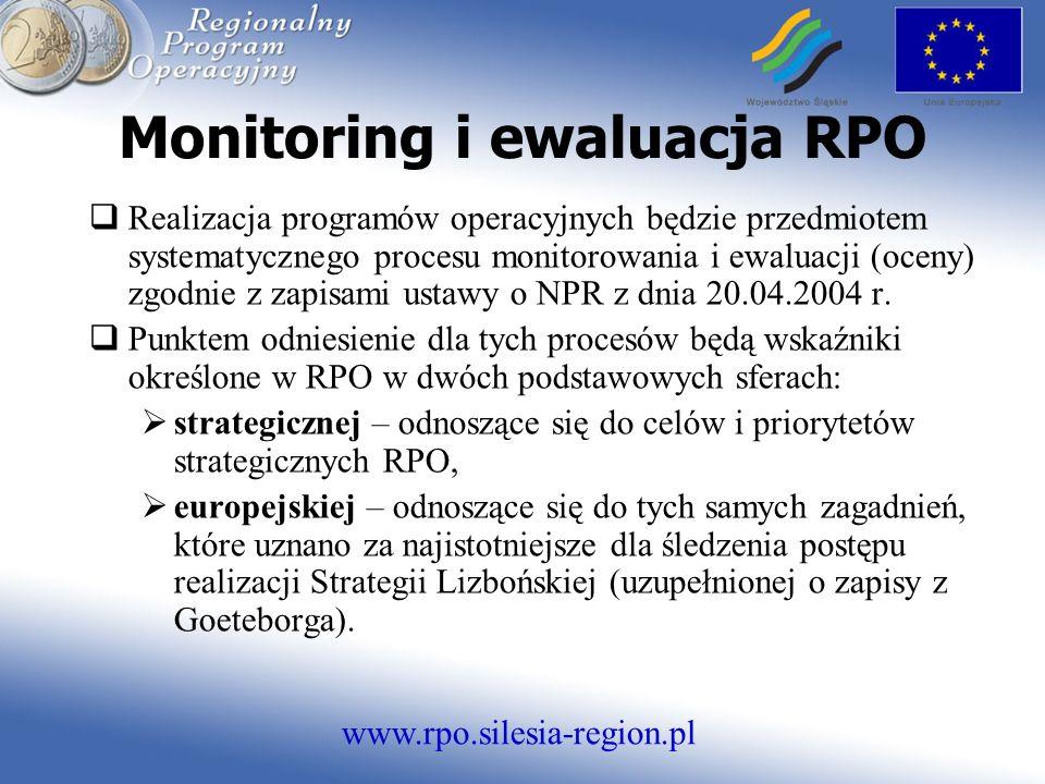 www.rpo.silesia-region.pl Monitoring i ewaluacja RPO Realizacja programów operacyjnych będzie przedmiotem systematycznego procesu monitorowania i ewaluacji (oceny) zgodnie z zapisami ustawy o NPR z dnia 20.04.2004 r.