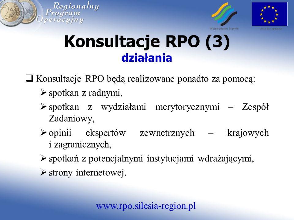 www.rpo.silesia-region.pl Konsultacje RPO (3) działania Konsultacje RPO będą realizowane ponadto za pomocą: spotkan z radnymi, spotkan z wydziałami merytorycznymi – Zespół Zadaniowy, opinii ekspertów zewnetrznych – krajowych i zagranicznych, spotkań z potencjalnymi instytucjami wdrażającymi, strony internetowej.