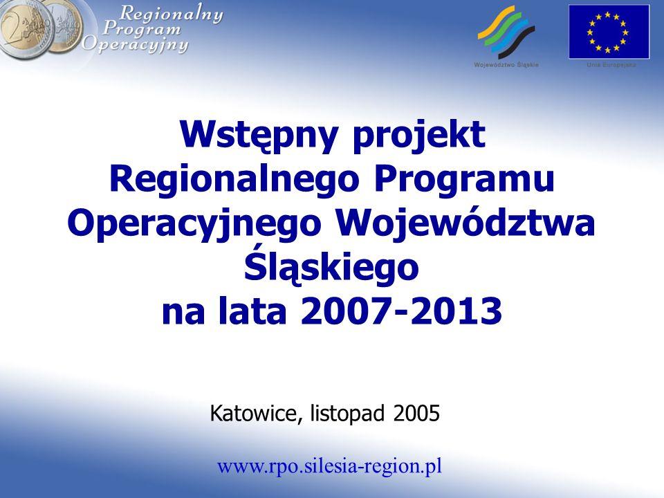 www.rpo.silesia-region.pl Wstępny projekt Regionalnego Programu Operacyjnego Województwa Śląskiego na lata 2007-2013 Katowice, listopad 2005