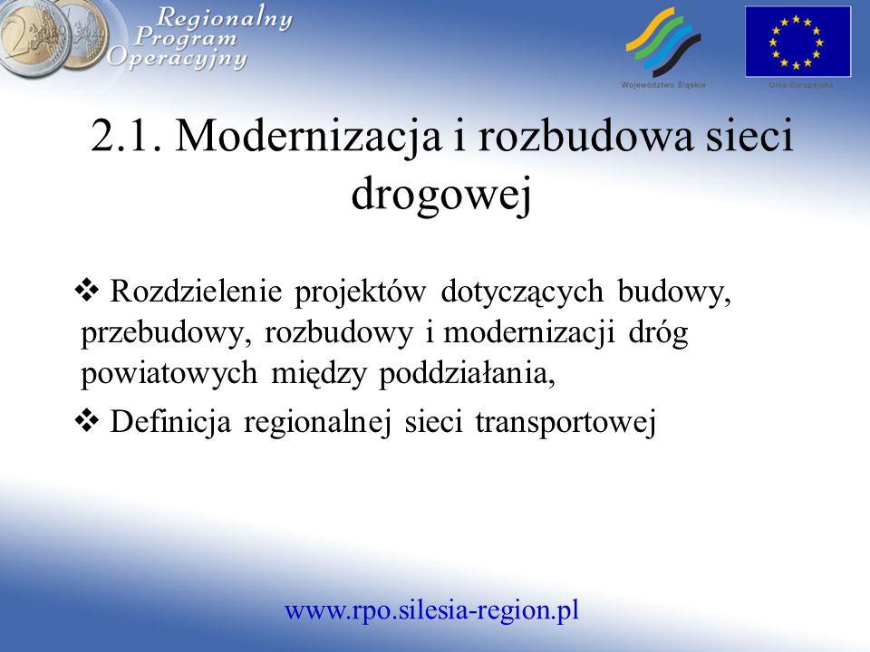 www.rpo.silesia-region.pl 2.1. Modernizacja i rozbudowa sieci drogowej Rozdzielenie projektów dotyczących budowy, przebudowy, rozbudowy i modernizacji