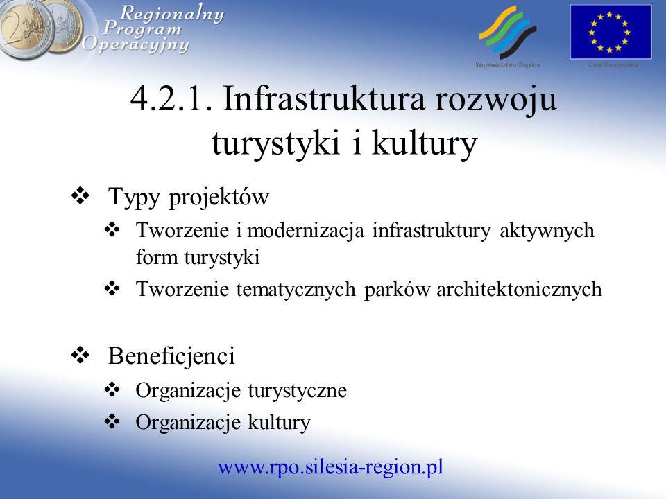 www.rpo.silesia-region.pl 4.2.1. Infrastruktura rozwoju turystyki i kultury Typy projektów Tworzenie i modernizacja infrastruktury aktywnych form tury