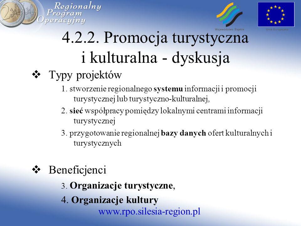 www.rpo.silesia-region.pl 4.2.2. Promocja turystyczna i kulturalna - dyskusja Typy projektów 1.