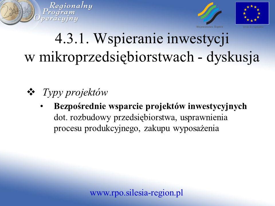 www.rpo.silesia-region.pl 4.3.1. Wspieranie inwestycji w mikroprzedsiębiorstwach - dyskusja Typy projektów Bezpośrednie wsparcie projektów inwestycyjn