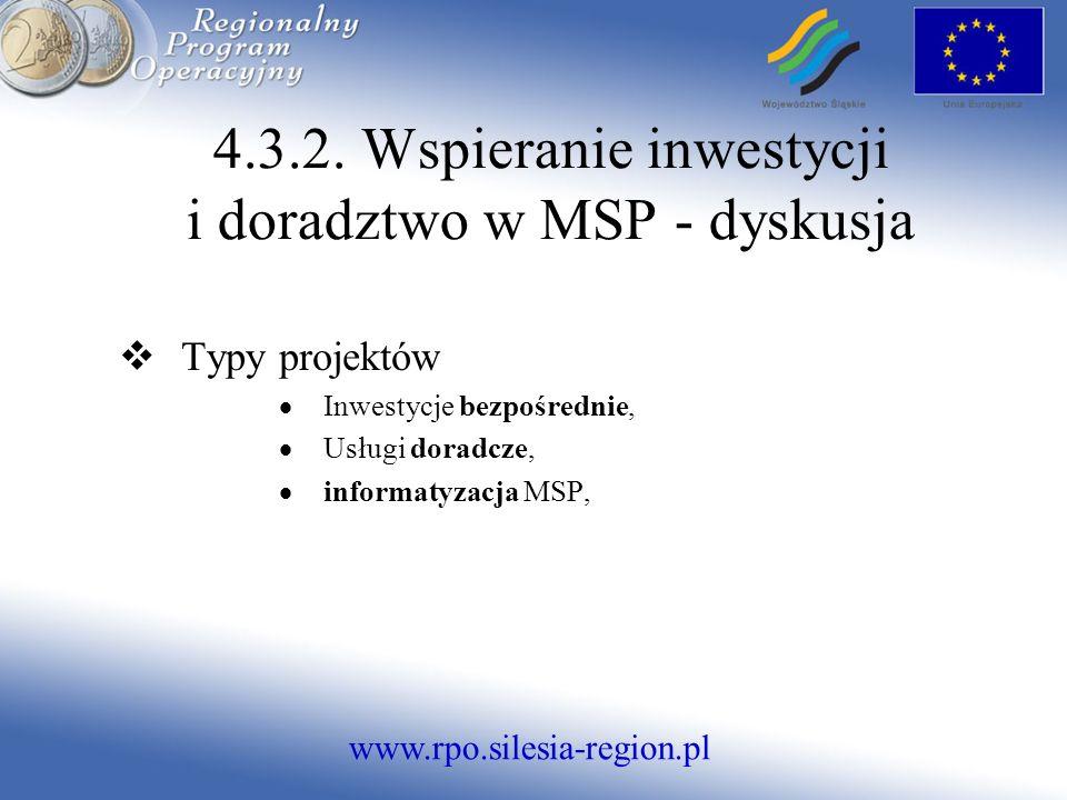 www.rpo.silesia-region.pl 4.3.2. Wspieranie inwestycji i doradztwo w MSP - dyskusja Typy projektów Inwestycje bezpośrednie, Usługi doradcze, informaty