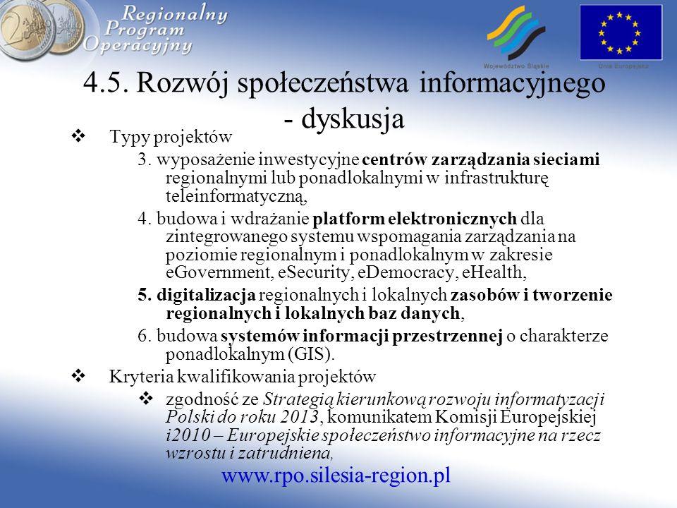 www.rpo.silesia-region.pl 4.5. Rozwój społeczeństwa informacyjnego - dyskusja Typy projektów 3.