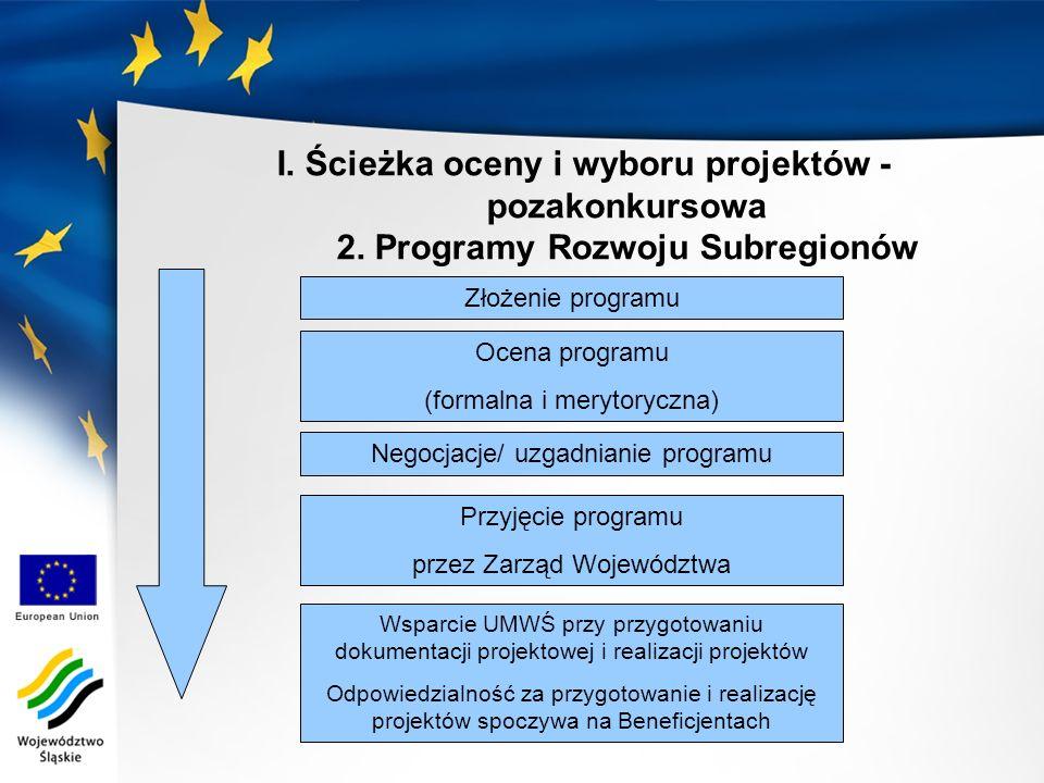I. Ścieżka oceny i wyboru projektów - pozakonkursowa 2.