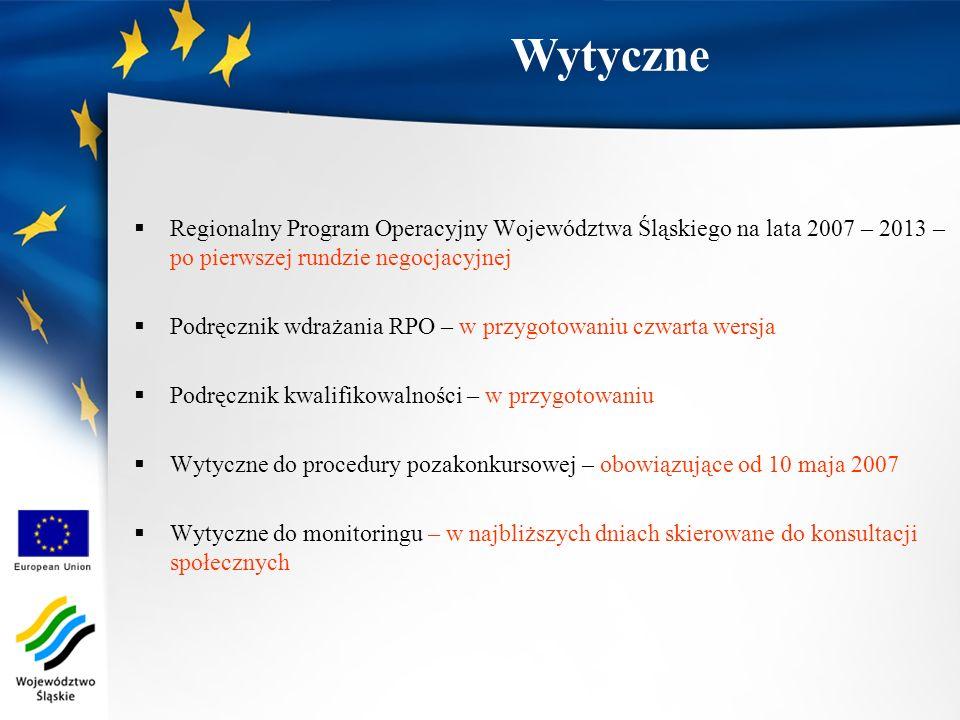 Regionalny Program Operacyjny Województwa Śląskiego na lata 2007 – 2013 – po pierwszej rundzie negocjacyjnej Podręcznik wdrażania RPO – w przygotowaniu czwarta wersja Podręcznik kwalifikowalności – w przygotowaniu Wytyczne do procedury pozakonkursowej – obowiązujące od 10 maja 2007 Wytyczne do monitoringu – w najbliższych dniach skierowane do konsultacji społecznych Wytyczne