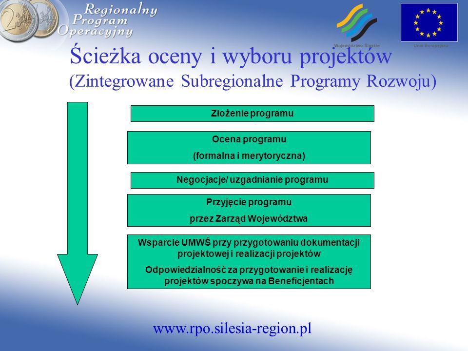 www.rpo.silesia-region.pl Ścieżka oceny i wyboru projektów (Zintegrowane Subregionalne Programy Rozwoju) Złożenie programu Ocena programu (formalna i merytoryczna) Negocjacje/ uzgadnianie programu Przyjęcie programu przez Zarząd Województwa Wsparcie UMWŚ przy przygotowaniu dokumentacji projektowej i realizacji projektów Odpowiedzialność za przygotowanie i realizację projektów spoczywa na Beneficjentach