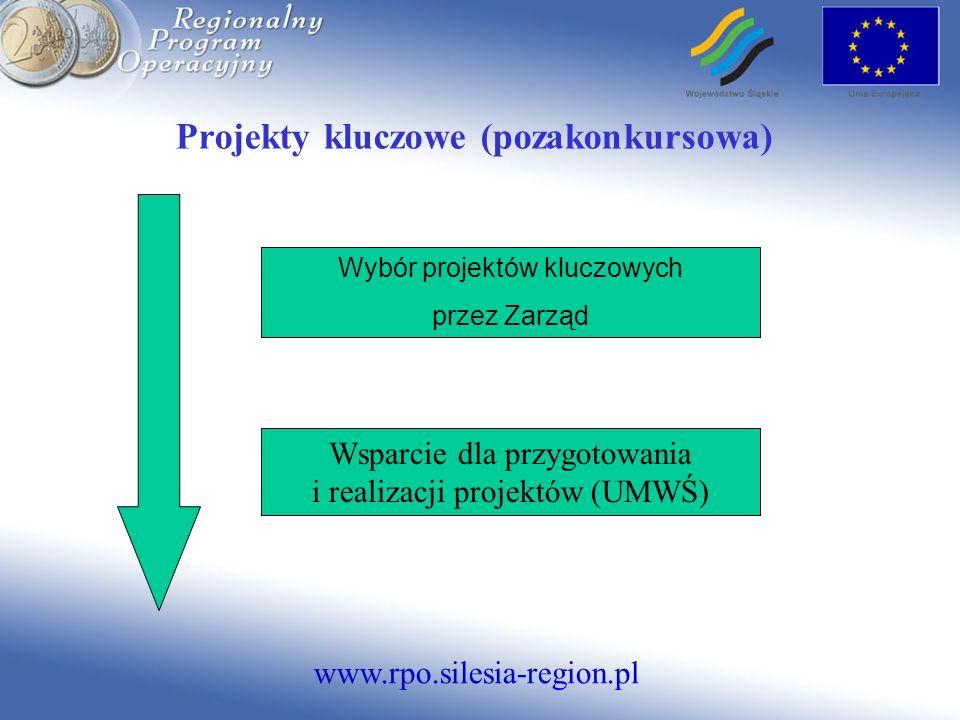 www.rpo.silesia-region.pl Projekty kluczowe (pozakonkursowa) Wybór projektów kluczowych przez Zarząd Wsparcie dla przygotowania i realizacji projektów (UMWŚ)