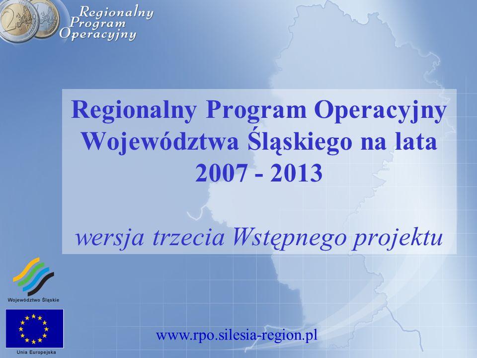 www.rpo.silesia-region.pl Regionalny Program Operacyjny Województwa Śląskiego na lata 2007 - 2013 wersja trzecia Wstępnego projektu