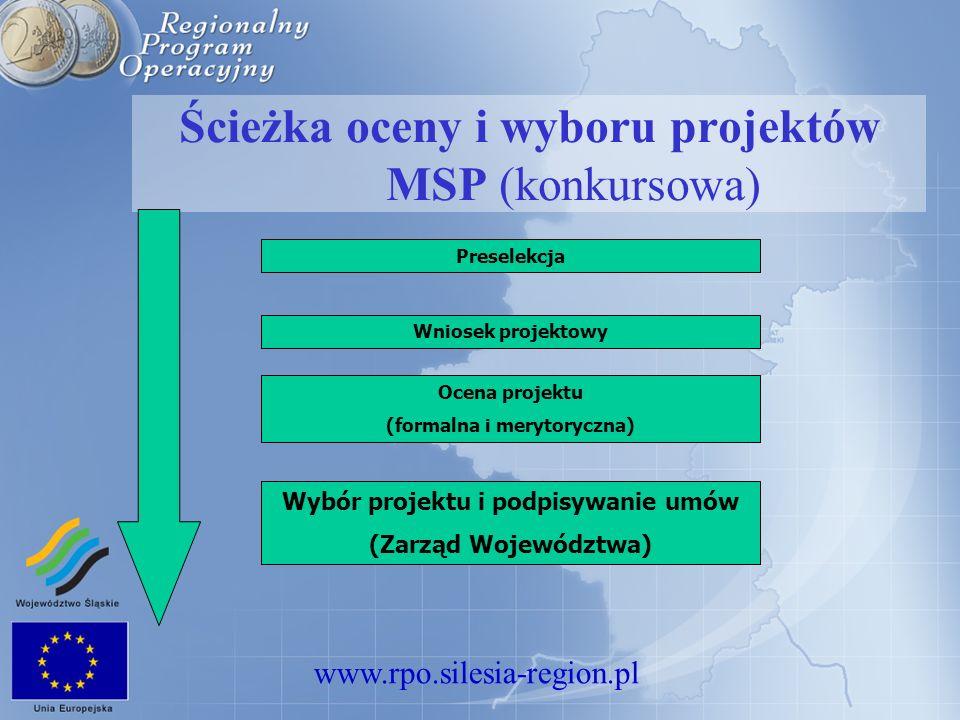 www.rpo.silesia-region.pl Ścieżka oceny i wyboru projektów MSP (konkursowa) Wniosek projektowy Ocena projektu (formalna i merytoryczna) Wybór projektu i podpisywanie umów (Zarząd Województwa) Preselekcja