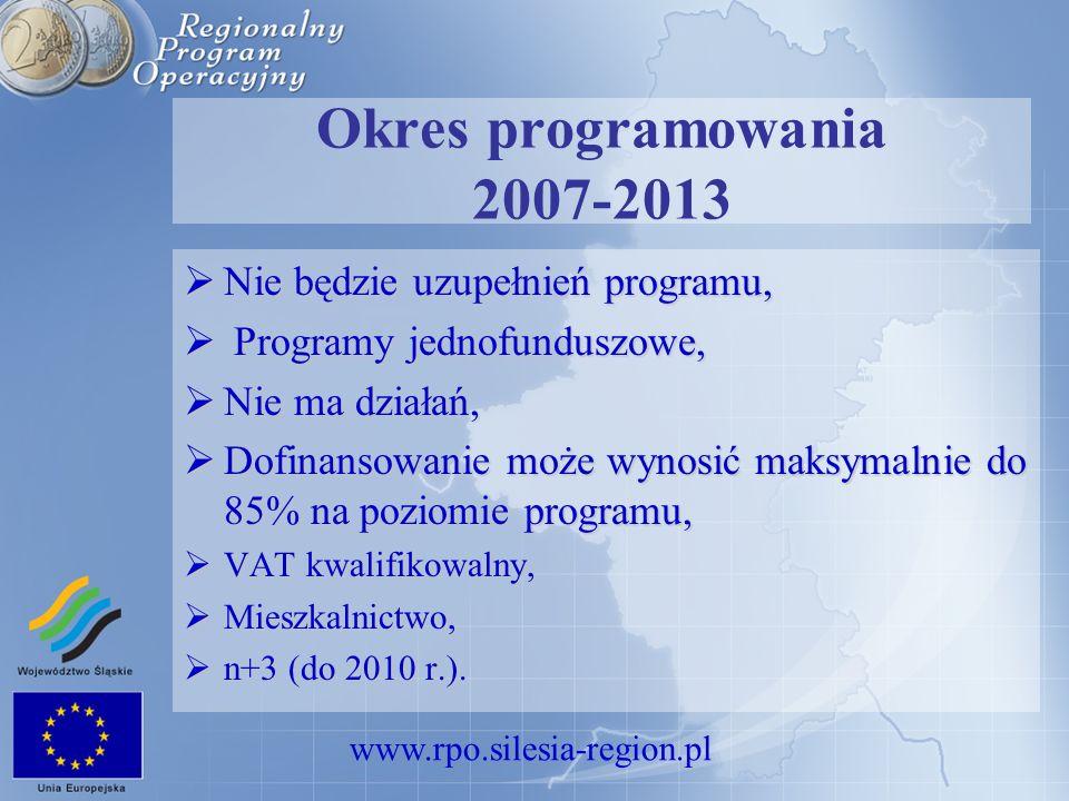 www.rpo.silesia-region.pl Okres programowania 2007-2013 Nie będzie uzupełnień programu, Nie będzie uzupełnień programu, Programy jednofunduszowe, Prog