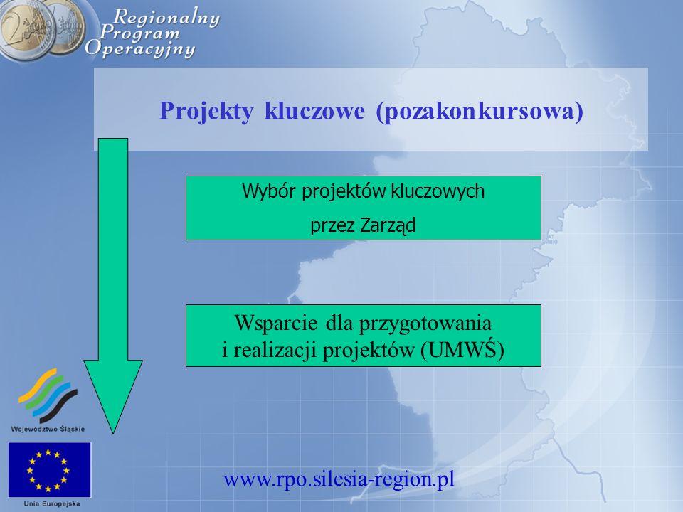 www.rpo.silesia-region.pl Projekty kluczowe (pozakonkursowa) Wybór projektów kluczowych przez Zarząd Wsparcie dla przygotowania i realizacji projektów