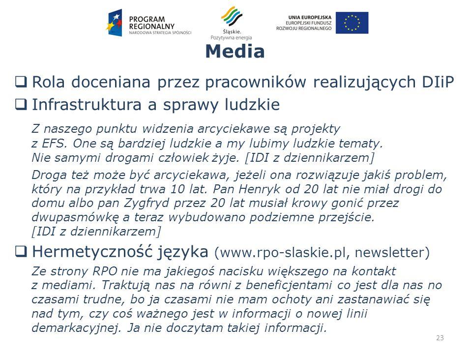 Media 23 Rola doceniana przez pracowników realizujących DIiP Infrastruktura a sprawy ludzkie Z naszego punktu widzenia arcyciekawe są projekty z EFS.