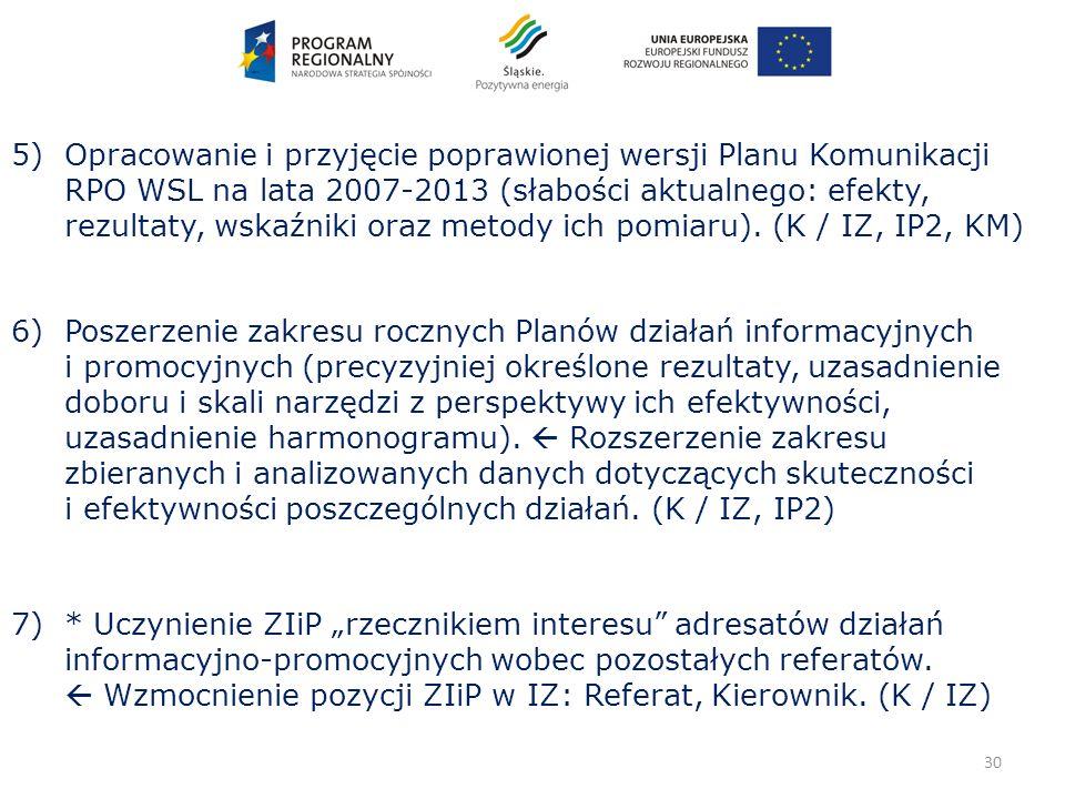 30 5) Opracowanie i przyjęcie poprawionej wersji Planu Komunikacji RPO WSL na lata 2007-2013 (słabości aktualnego: efekty, rezultaty, wskaźniki oraz metody ich pomiaru).