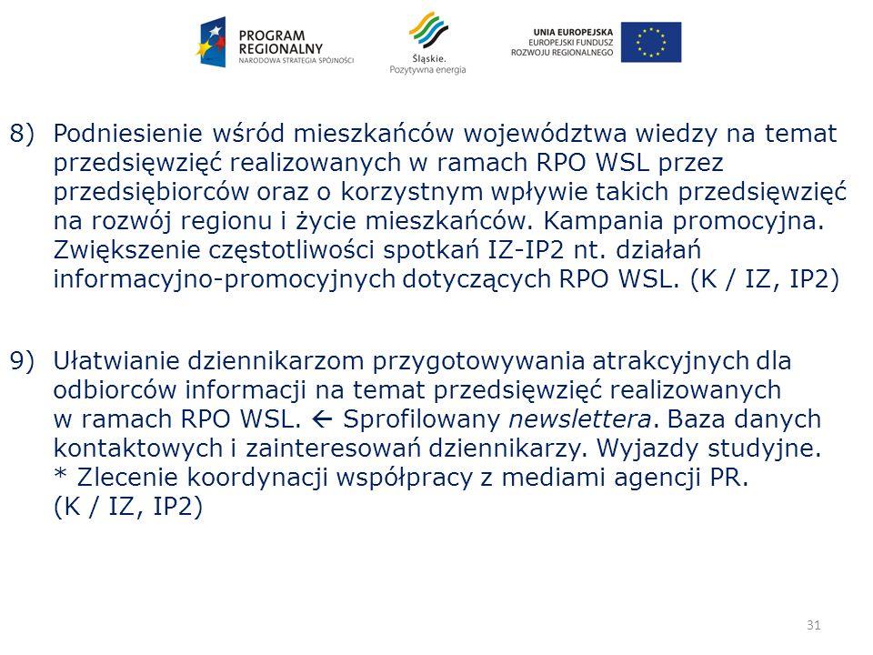 31 8) Podniesienie wśród mieszkańców województwa wiedzy na temat przedsięwzięć realizowanych w ramach RPO WSL przez przedsiębiorców oraz o korzystnym wpływie takich przedsięwzięć na rozwój regionu i życie mieszkańców.
