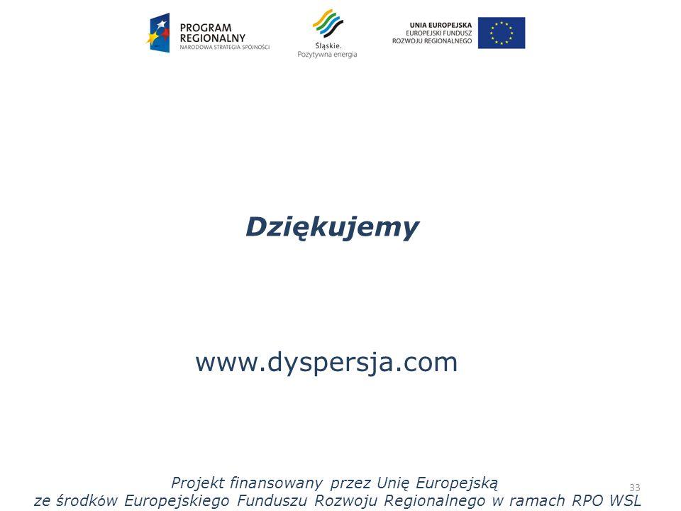 Dziękujemy 33 www.dyspersja.com Projekt finansowany przez Unię Europejską ze środk ó w Europejskiego Funduszu Rozwoju Regionalnego w ramach RPO WSL