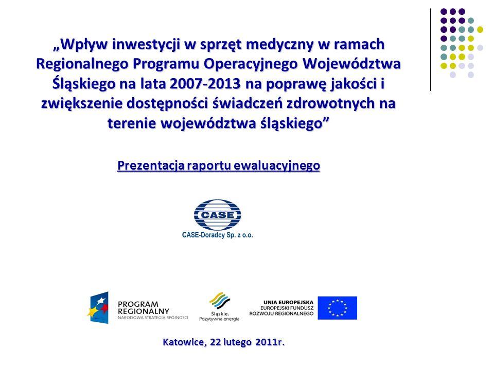 Cel i obszary badawcze CEL GŁÓWNY Ocena wpływu zakupu sprzętu medycznego w ramach zrealizowanych projektów RPO WSL 2007-2013 na zwiększenie dostępności i poprawę jakości usług medycznych w województwie śląskim OBSZARY BADAWCZE Stan wyposażenia w sprzęt medyczny jednostek opieki zdrowotnej na terenie województwa przed realizacją RPO WSL (na koniec 31.12.2007); Mechanizm wsparcia finansowego dla sektora ochrony zdrowia w ramach RPO WSL; Efekty realizacji projektów; Dofinansowanie zakupu sprzętu medycznego w przyszłym okresie programowania (2014-2020).