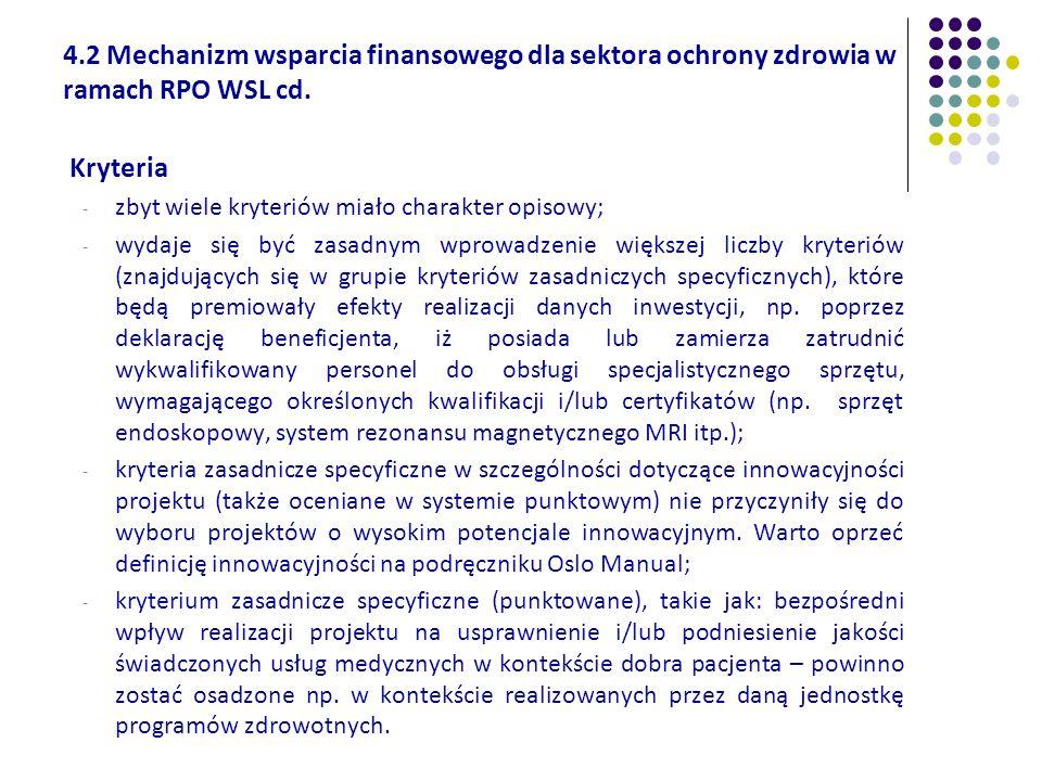 4.2 Mechanizm wsparcia finansowego dla sektora ochrony zdrowia w ramach RPO WSL cd. Kryteria - zbyt wiele kryteriów miało charakter opisowy; - wydaje