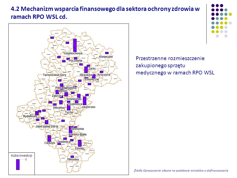 Przestrzenne rozmieszczenie zakupionego sprzętu medycznego w ramach RPO WSL Źródło Opracowanie własne na podstawie wniosków o dofinansowanie 4.2 Mecha