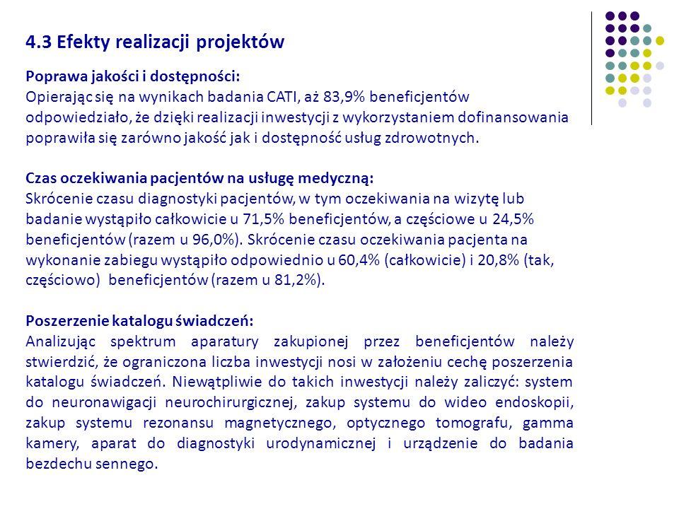 4.3 Efekty realizacji projektów Poprawa jakości i dostępności: Opierając się na wynikach badania CATI, aż 83,9% beneficjentów odpowiedziało, że dzięki