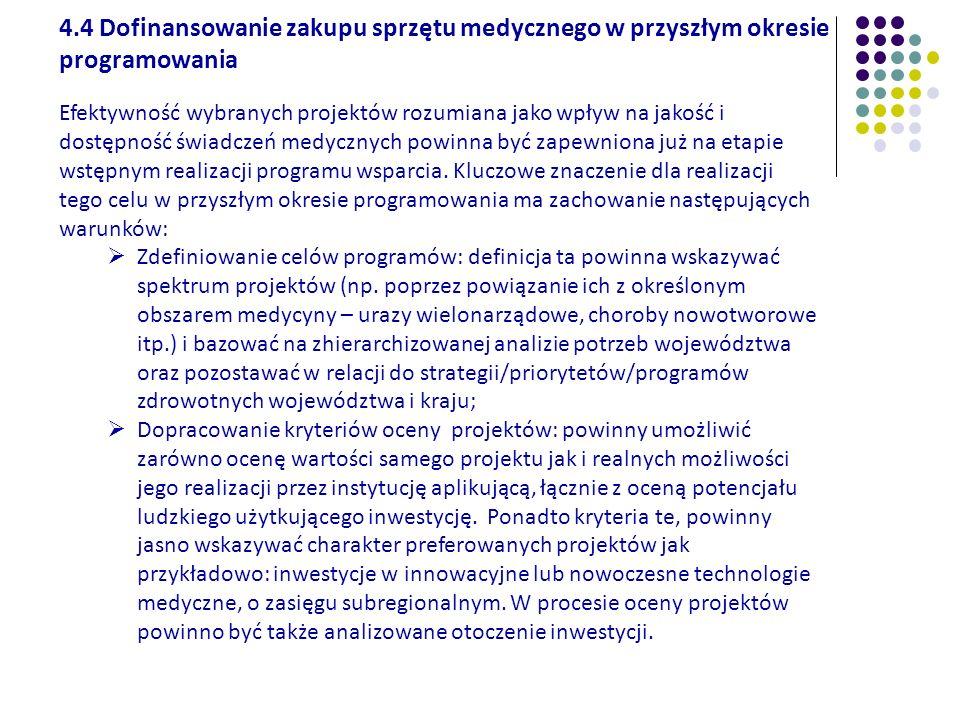 4.4 Dofinansowanie zakupu sprzętu medycznego w przyszłym okresie programowania Efektywność wybranych projektów rozumiana jako wpływ na jakość i dostęp