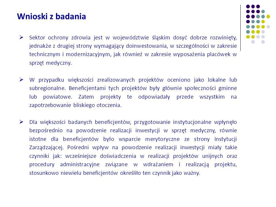 Wnioski z badania Sektor ochrony zdrowia jest w województwie śląskim dosyć dobrze rozwinięty, jednakże z drugiej strony wymagający doinwestowania, w s