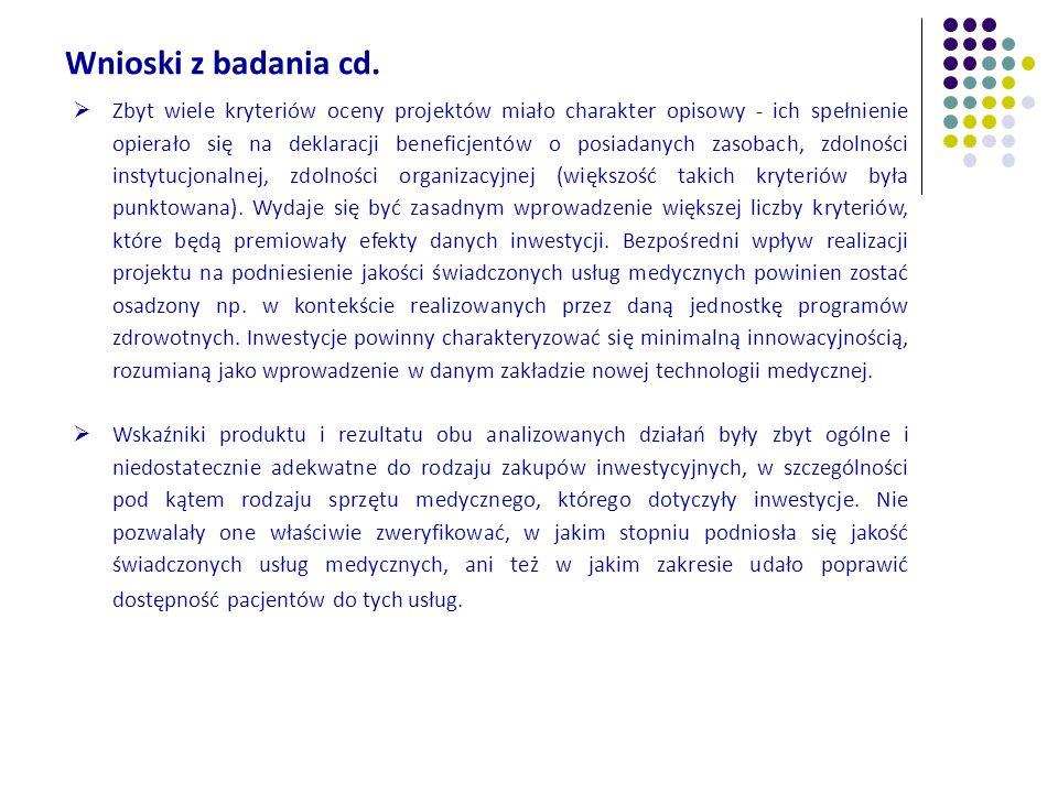 Wnioski z badania cd. Zbyt wiele kryteriów oceny projektów miało charakter opisowy - ich spełnienie opierało się na deklaracji beneficjentów o posiada