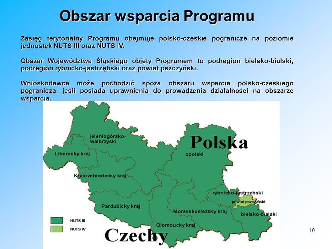10 Obszar wsparcia Programu Zasięg terytorialny Programu obejmuje polsko-czeskie pogranicze na poziomie jednostek NUTS III oraz NUTS IV. Obszar Wojewó