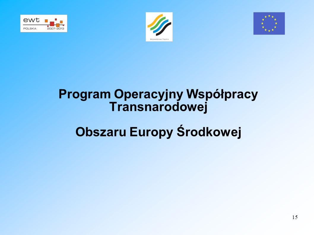 15 Program Operacyjny Współpracy Transnarodowej Obszaru Europy Środkowej