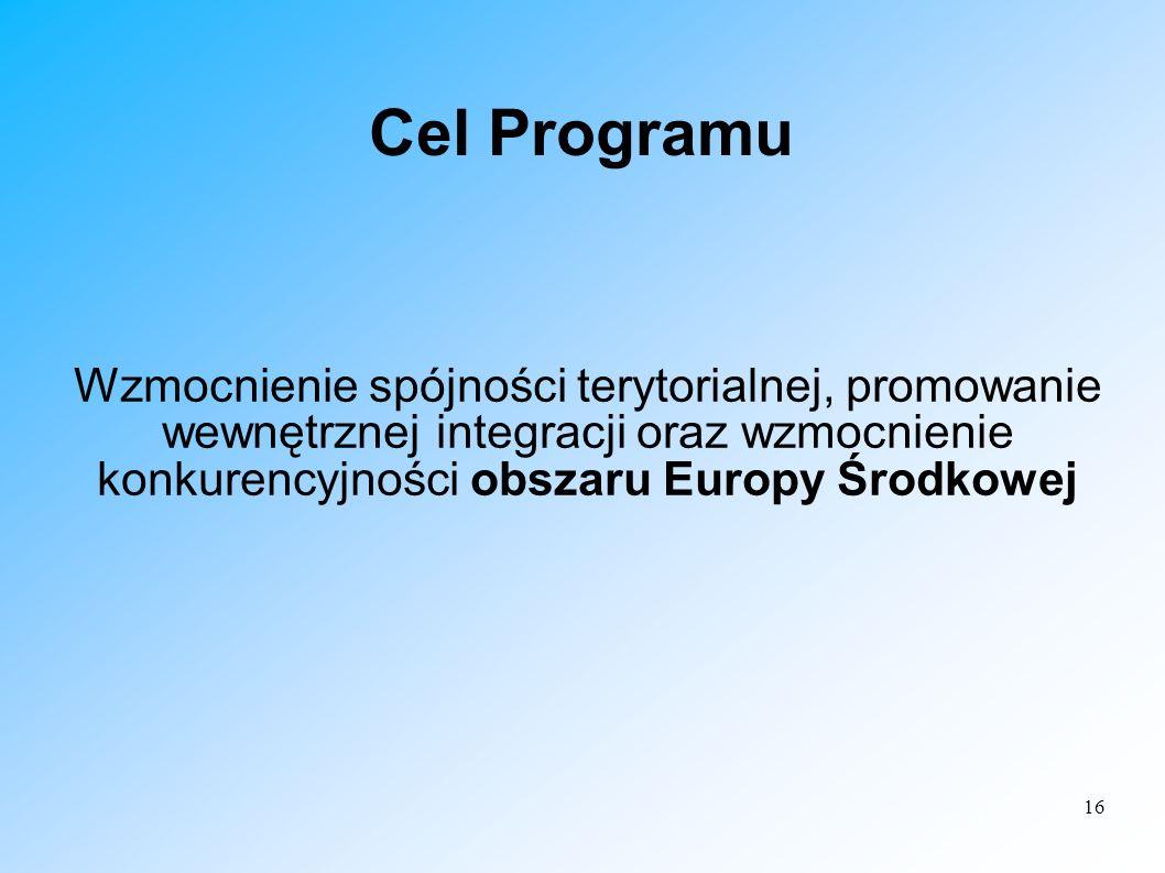 16 Cel Programu Wzmocnienie spójności terytorialnej, promowanie wewnętrznej integracji oraz wzmocnienie konkurencyjności obszaru Europy Środkowej