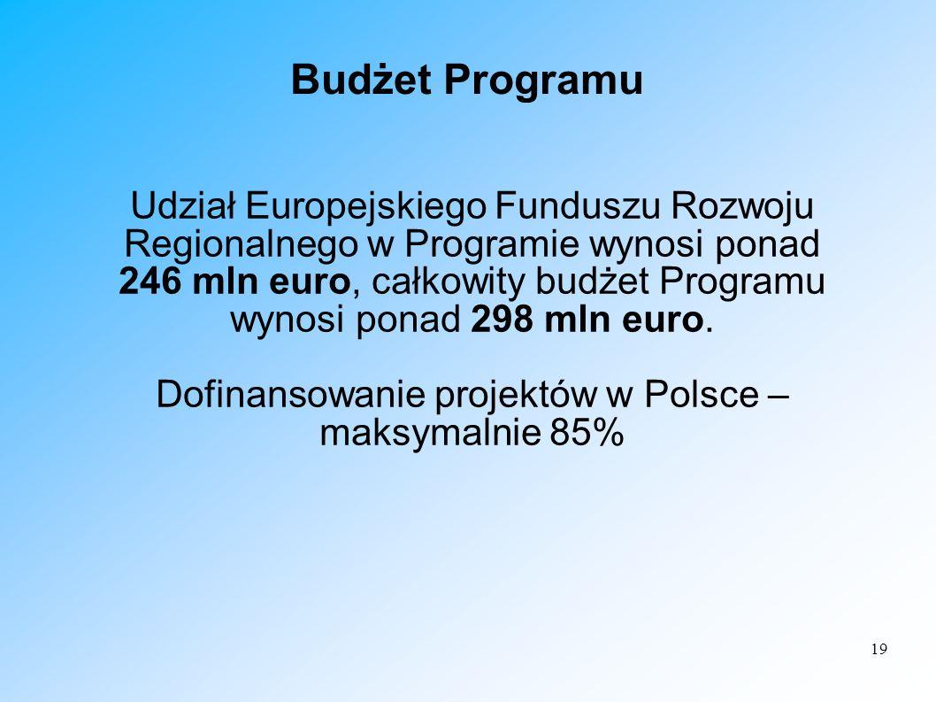 19 Budżet Programu Udział Europejskiego Funduszu Rozwoju Regionalnego w Programie wynosi ponad 246 mln euro, całkowity budżet Programu wynosi ponad 29