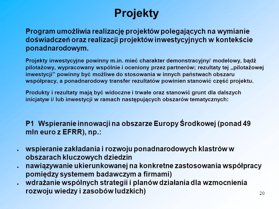20 Projekty Program umożliwia realizację projektów polegających na wymianie doświadczeń oraz realizacji projektów inwestycyjnych w kontekście ponadnar