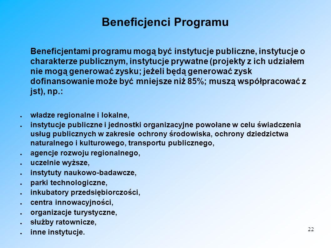 22 Beneficjenci Programu Beneficjentami programu mogą być instytucje publiczne, instytucje o charakterze publicznym, instytucje prywatne (projekty z i