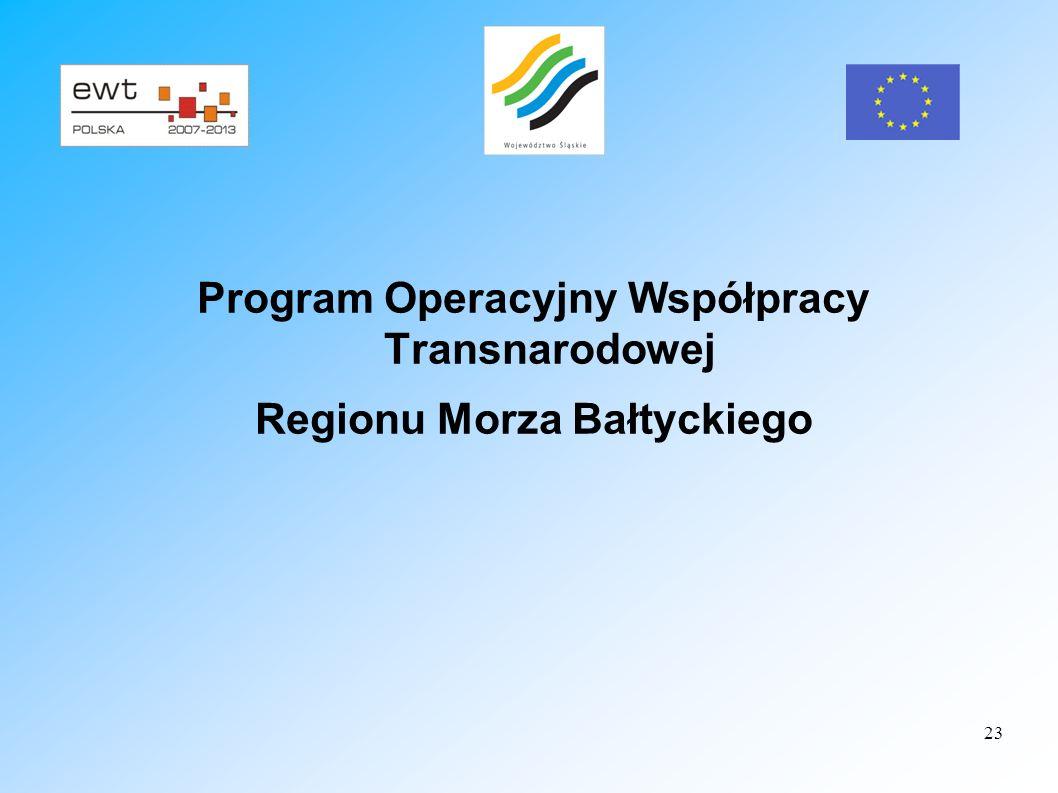 23 Program Operacyjny Współpracy Transnarodowej Regionu Morza Bałtyckiego