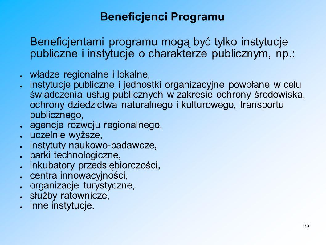29 Beneficjenci Programu Beneficjentami programu mogą być tylko instytucje publiczne i instytucje o charakterze publicznym, np.: władze regionalne i l