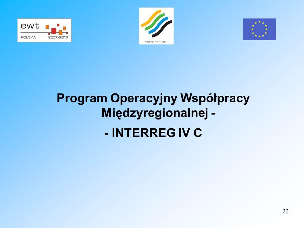 30 Program Operacyjny Współpracy Międzyregionalnej - - INTERREG IV C