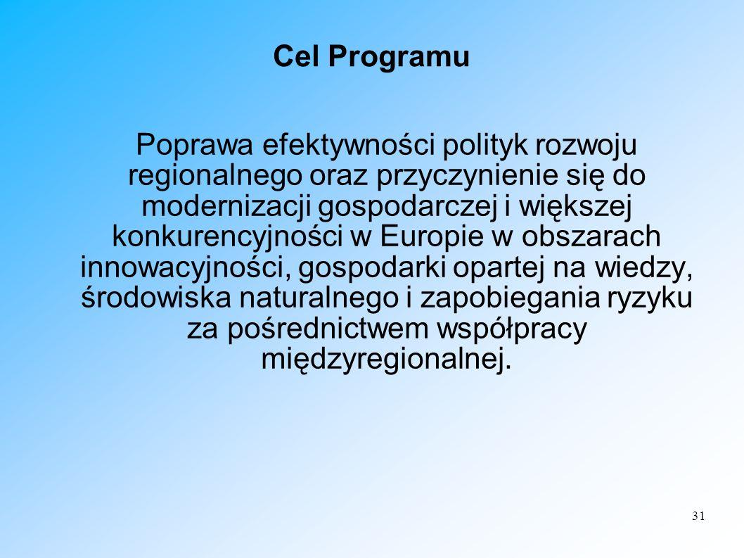 31 Cel Programu Poprawa efektywności polityk rozwoju regionalnego oraz przyczynienie się do modernizacji gospodarczej i większej konkurencyjności w Eu