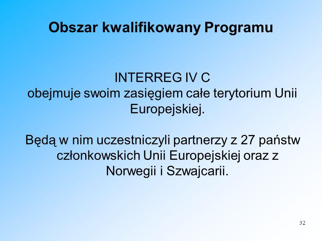32 Obszar kwalifikowany Programu INTERREG IV C obejmuje swoim zasięgiem całe terytorium Unii Europejskiej. Będą w nim uczestniczyli partnerzy z 27 pań
