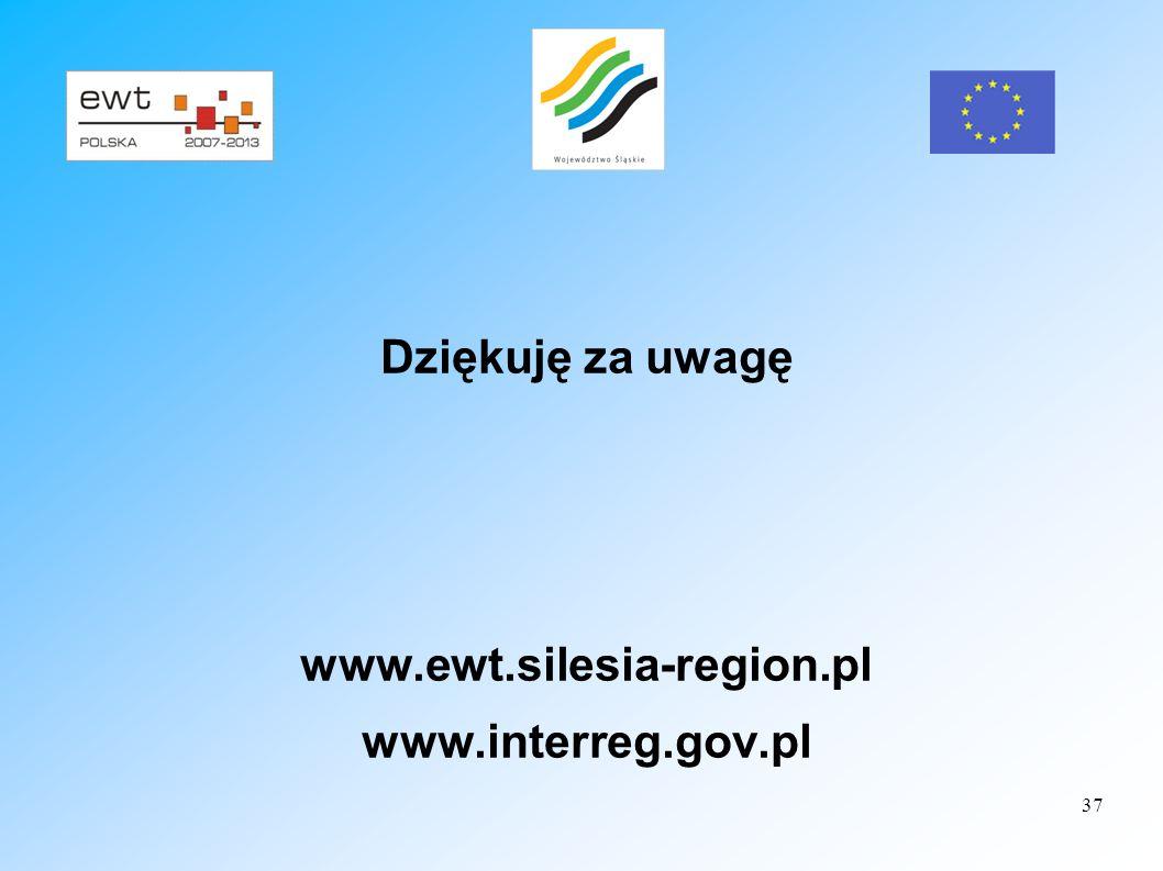 37 Dziękuję za uwagę www.ewt.silesia-region.pl www.interreg.gov.pl