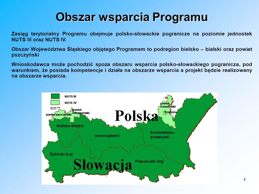 4 Obszar wsparcia Programu Zasięg terytorialny Programu obejmuje polsko-słowackie pogranicze na poziomie jednostek NUTS III oraz NUTS IV. Obszar Wojew
