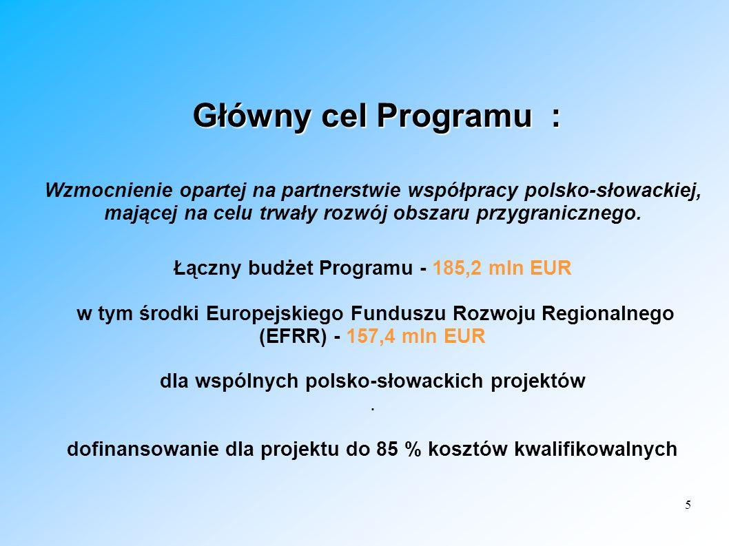 5 Główny cel Programu : Główny cel Programu : Wzmocnienie opartej na partnerstwie współpracy polsko-słowackiej, mającej na celu trwały rozwój obszaru