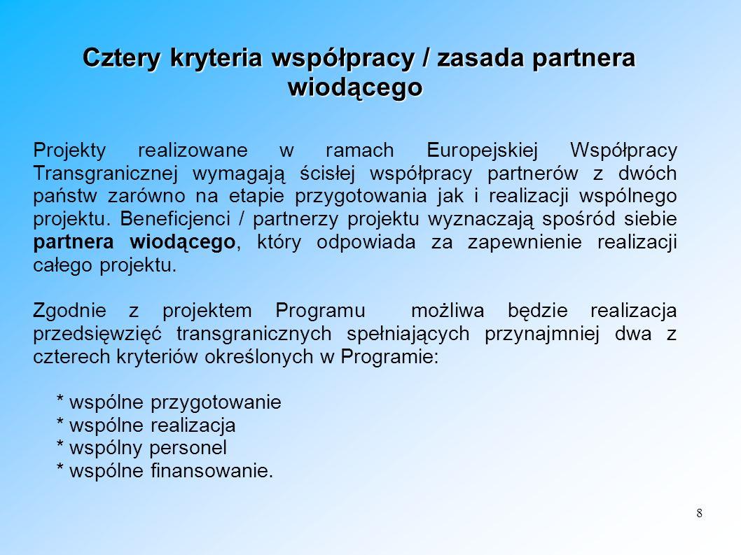 8 Cztery kryteria współpracy / zasada partnera wiodącego Cztery kryteria współpracy / zasada partnera wiodącego Projekty realizowane w ramach Europejs