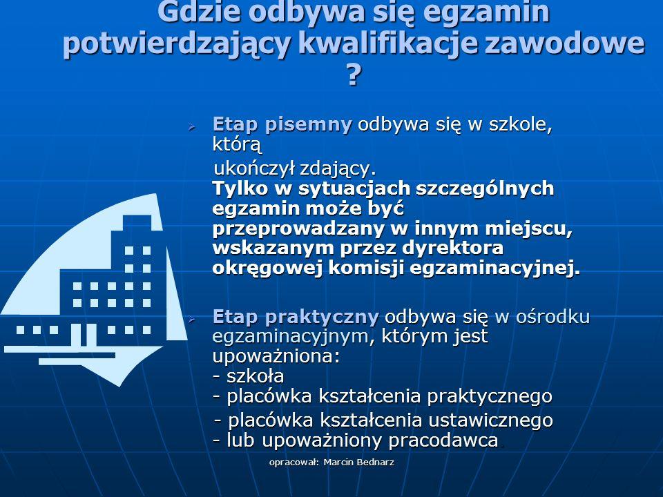 opracował: Marcin Bednarz Gdzie odbywa się egzamin potwierdzający kwalifikacje zawodowe .