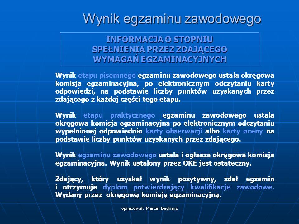 opracował: Marcin Bednarz Warunki zdania egzaminu potwierdzającego kwalifikacje zawodowe Część II – zakres wiadomości i umiejętności związanych z zatrudnieniem i działalnością gospodarczą zalicza min.