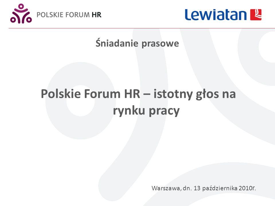 Śniadanie prasowe Polskie Forum HR – istotny głos na rynku pracy Warszawa, dn.