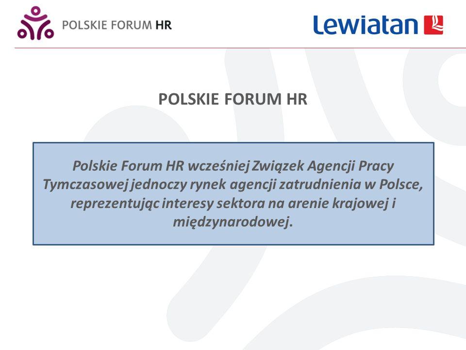 POLSKIE FORUM HR Polskie Forum HR zrzesza 18 agencji reprezentując tym samym około 40 % rynku pracy tymczasowej* W pierwszym półroczu 2010 obroty agencji członkowskich wyniosły: w zakresie pracy tymczasowej wyniosły ok.
