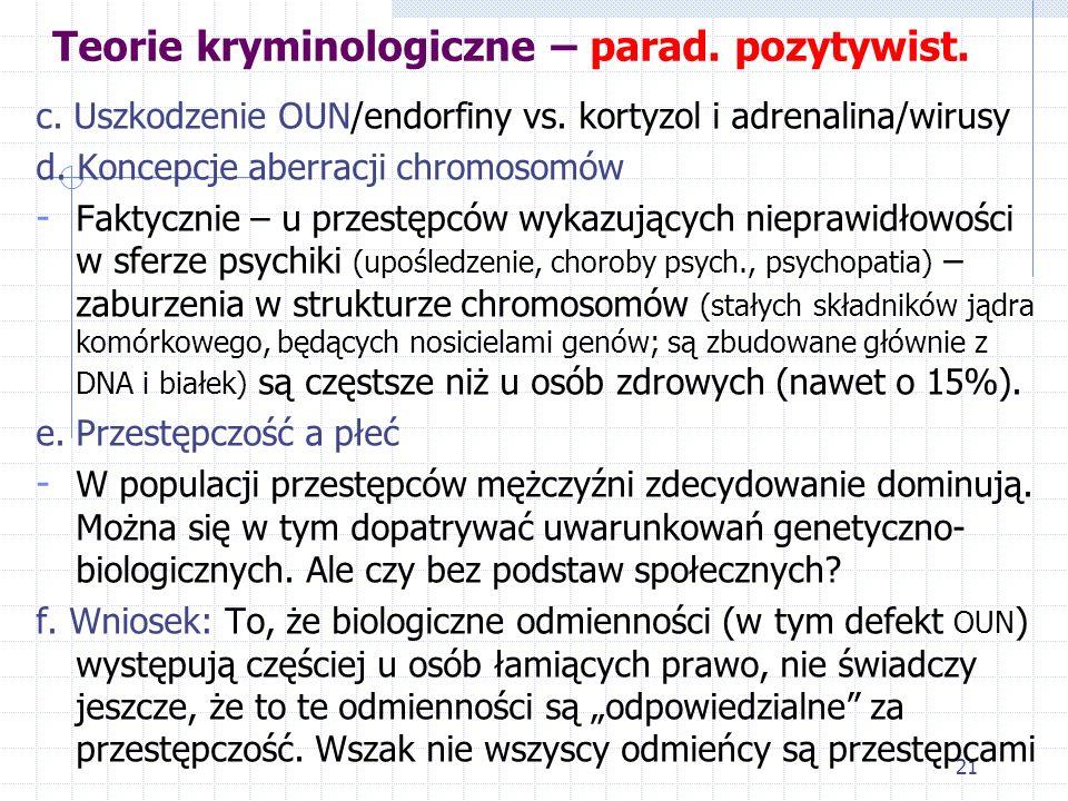 20 Teorie kryminologiczne – parad. pozytywist. 1. Nurt (kierunek) biologiczny (zachowanie przestępcze skutkiem określonych właściwości biologicznych c
