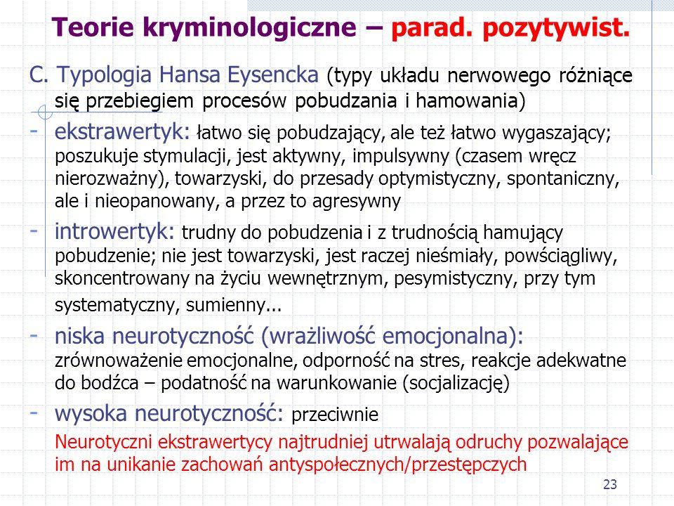 22 Teorie kryminologiczne – parad. pozytywist. 2. Teorie konstytucjonalno-typologiczne a. Typologia Hipokratesa - sangwinik: silnie reagujący i niewyt